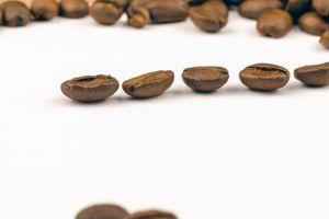 brown aroma freshness caffeine texture macro photography raw close-up white background grains