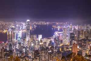 buildings night view light landscape ocean central city hong kong harbor commercial