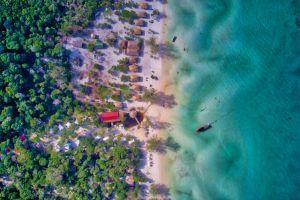 by the sea beach hut top view drone beach boat beach huts islands jungle sand beach