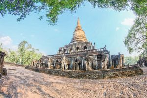 chang ruin vacation world park elephant religion wat asia pagoda