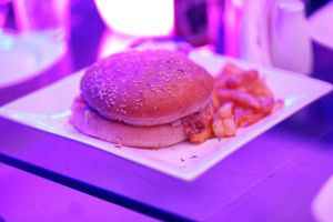 cheeseburger food fast food burger french fries plate restaurant eating