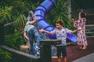 child slide playground what? smile magic people play boy kid