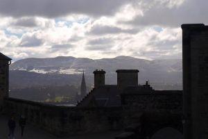 clouds sky castle buildings mountains