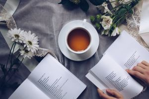 contemporary caffeine drink tea poetry relaxation books document flowers hands