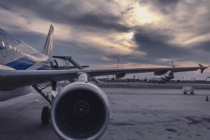 departure aviation plane runway sunset airport vehicle transportation technology engine