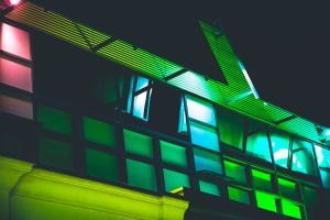 design contemporary night time building architecture low angle photography