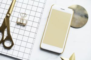 desk smartphone technology white modern phone background gold flat electronics