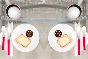 dining plates drink food flatlay spoon cutlery