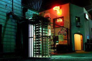 door neon dock urban glow night seattle