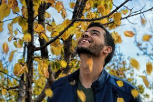 facial hair landscape daytime park tree fashion daylight man colors smiling