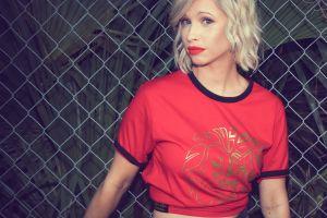 female photoshoot girl fence blond adult beauty beautiful sexy fashion