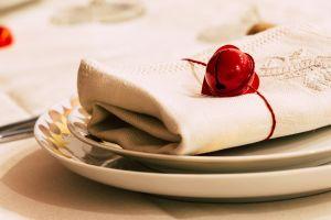 festive white love dinner holiday design heart ornament red setting