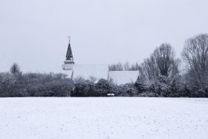 field winter church park snow cold