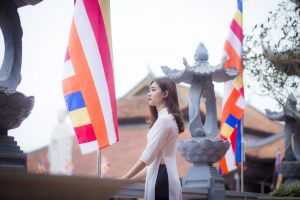 flags temple fashion daytime woman girl