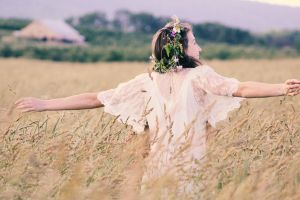 flowers beautiful landscape woman dress person fashion crops blurred background pose