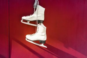 footwear wall blades leather ice skates hanging