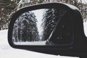 frost winter cold mirror snow trees car vehicle season automobile