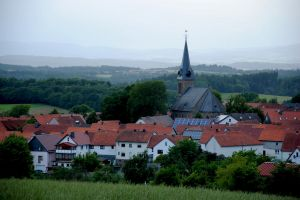 germany landscape hessen building buildings hill houses tree trees church