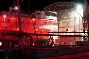 glow night reflection dock neon water