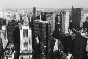 high-rises city architecture aerial shot cityscape from above black-and-white urban skyscrapers downtown