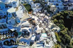 hotels buildings city architecture houses town bird's eye view drone footage drone cam aerial shot