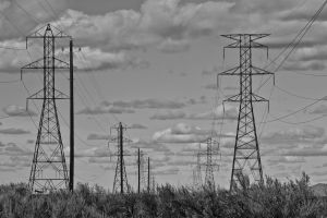 industry black and-white supply electricity high station danger wires energy pollution