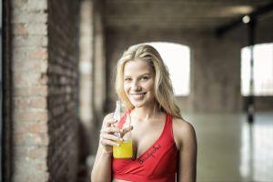juice girl gym wear cute fit adult beautiful woman drink