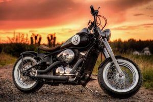 kawasaki bobber sunset motorcycle