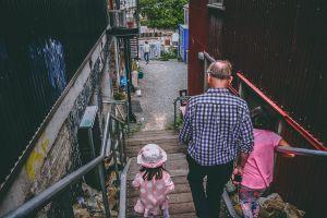 kids people old person elderly adult handrails stairs elderly man children man