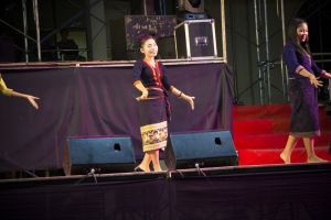 lao jewelry portrait people dance prabang tuk asia umbrella wat