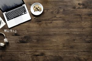 laptop top view device keyboard softwood electronics music screen wood hardwood
