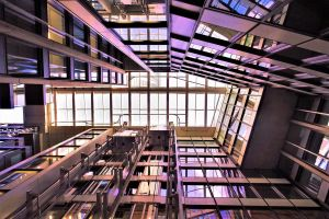 lights inside contemporary futuristic steel indoors ceiling low angle shot urban modern