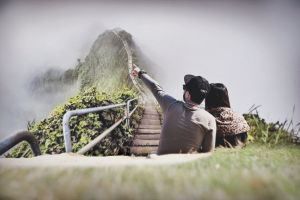 look leisure park foggy cap grass woman hillside beautiful young couple
