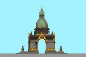 luang religion capital vientiane statue blue architecture temple antique faith