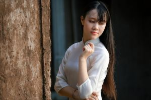 model hair dress girl young woman female concrete structure fashion photoshoot