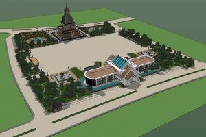 monk architect vientiane antique landmark pha statue golden traditional church