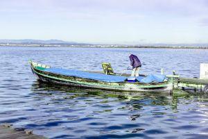 mountain blue water boat laguna ocean blue water waves