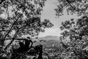 mountain posing black and white