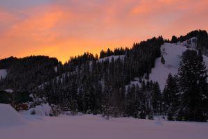 mountains winter snow sunrise idaho