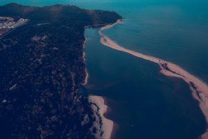 ocean landscape seascape sea scenic daylight seashore high angle shot mountain beach