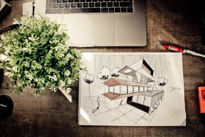 office laptop illustration art drawing draw design color pencil room wooden