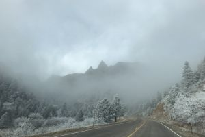 #outdoorchallenge fog snow road trees outdoorchallenge mountains