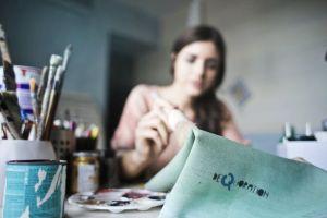 paint blurred working cloth woman art painting handicraft skill girl