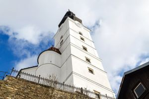 panorama scenery green tower historical architecture czech europe heritage bell