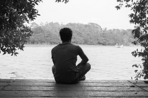 park person sea water black-and-white back view nature relaxation landscape shadow