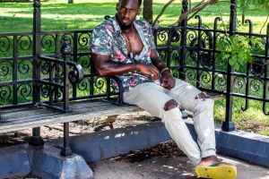 park trees pose summer brawny jeans photoshoot grass man muscular