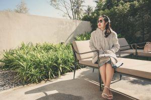 person beautiful female fashion sunglasses hair photoshoot lady woman garden