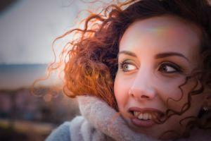 portrait fashion style person woman wear scarf park girl
