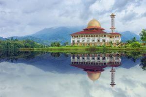 religion mosque garden building scenic reflections mountain landmark landscape grass