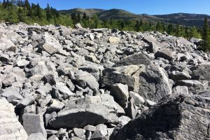 rocks buried frank slide avalanche blue skies rockscape mountains